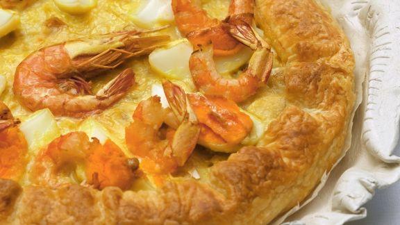 Rezept: Quiche mit Kabeljau und Shrimps