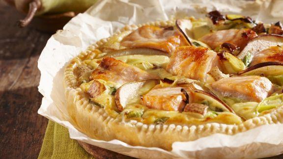 Rezept: Quiche mit Lachs und Birnen