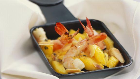 Rezept: Raclette mit Mango und Garnele
