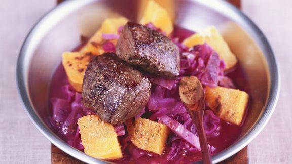 Rezept: Rehfilets mit Orangen-Zimt-Blaukraut