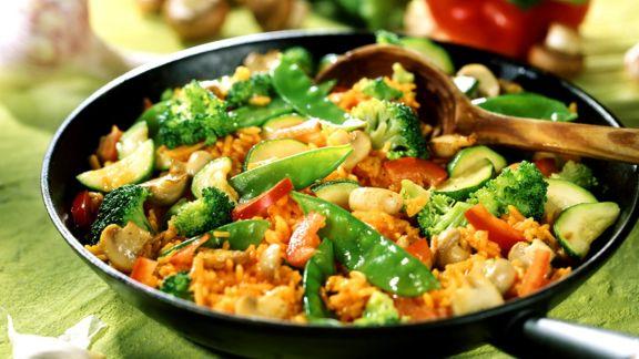 Rezept: Reis-Gemüsepfanne