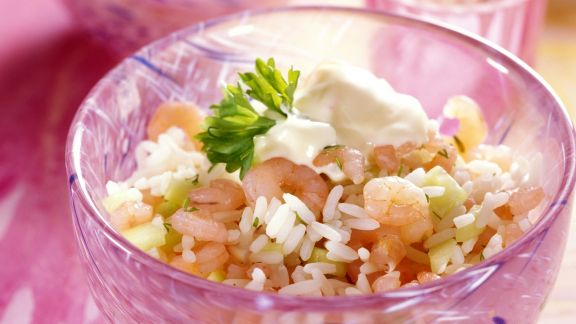 Rezept: Reis-Gurken-Salat mit Crevetten