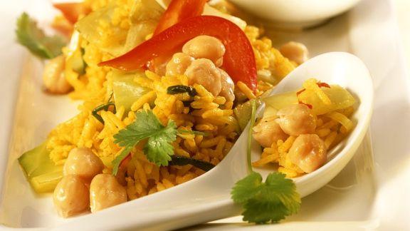 Rezept: Reis mit Weißkohl und Kichererbsen