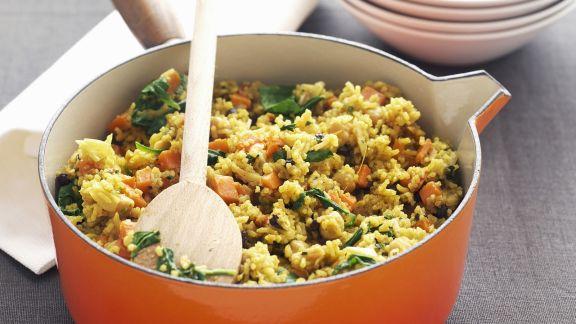 Rezept: Reis-Spinat-Topf mit Süßkartoffeln