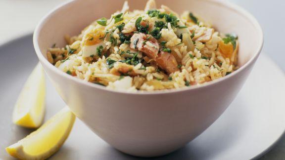 Rezept: Reispfanne mit Fisch auf englisch-indische Art (Kedgeree)