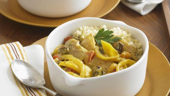 Rezept: Reispfanne mit Hähnchen und Kokos-Paprika-Sauce