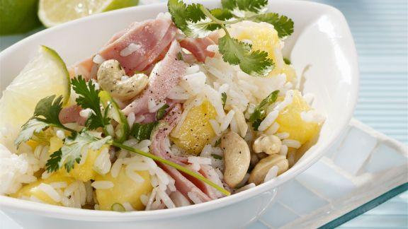 Rezept: Reissalat mit Schinken und Ananas