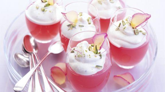 Rezept: Rhabarbergelee mit Rosensahne