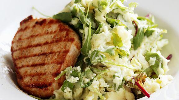 Rezept: Rinderfiletsteak mit Salat-Püree