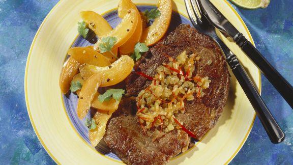 Rezept: Rindersteak mit Aprikosensalat auf karibische Art