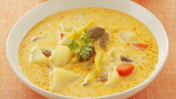Rezept: Rindfleisch-Kartoffel-Suppe mit Bohnen