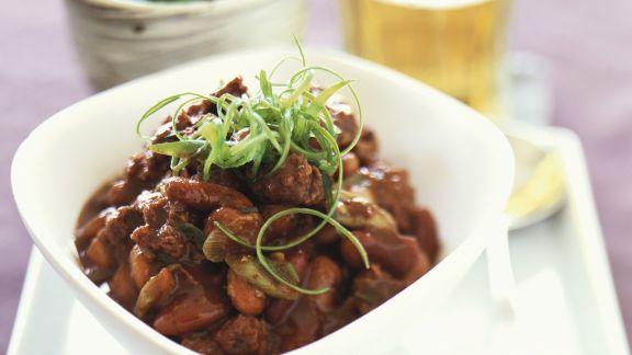 Rezept: Rindfleischpfanne mit dreierlei Bohnen