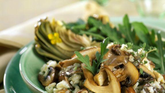 Rezept: Risotto mit Pilzen und Rucola
