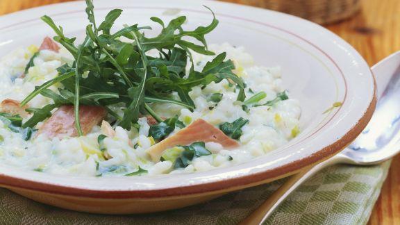 Rezept: Risotto mit Rucola und Räucherfisch
