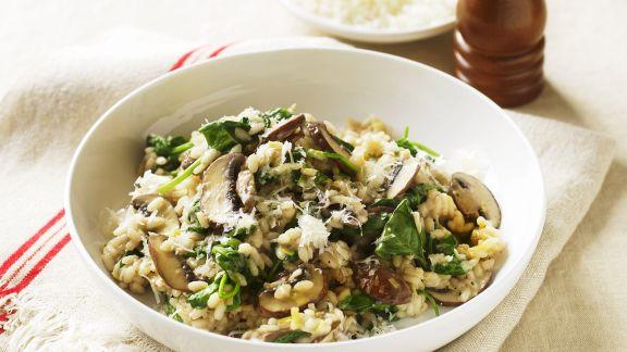 Rezept: Risotto mit Spinat und Pilzen