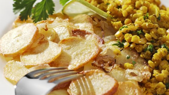 Rezept: Risotto von roten Linsen mit Bratkartoffeln