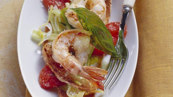 Rezept: Röstbrot mit Shrimps