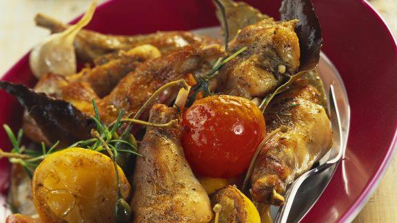 Rezept: Rosmarin-Kaninchen mit Gemüse