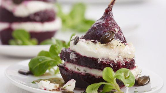 Rezept: Rote-Bete mit Feta und Rapunzelsalat