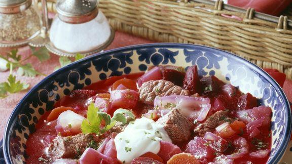 Rezept: Rote-Bete-Suppe (Borschtsch)