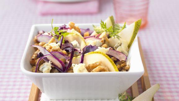 Rezept: Rotkohl-Birnen-Salat mit Linsen