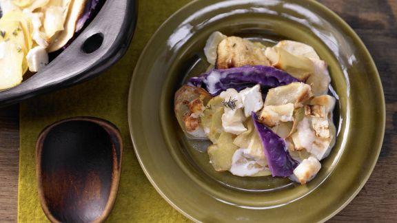 Rezept: Rotkohl-Kartoffel-Gratin