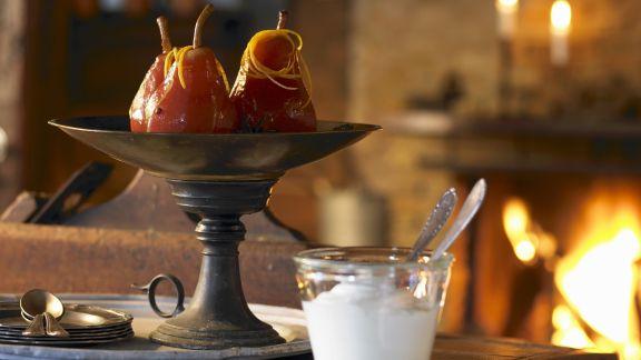 Rezept: Rotweinbirnen mit Gewürzen