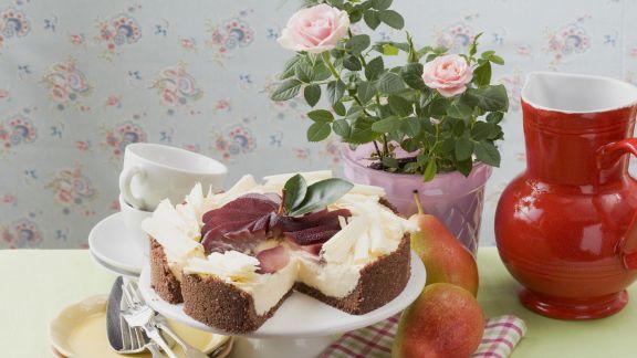 Rezept: Rotweinbirnenkuchen mit weißer Schokolade