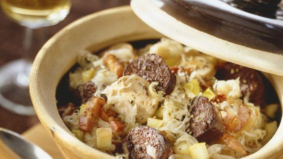 Rezept: Rotwurst mit Sauerkraut