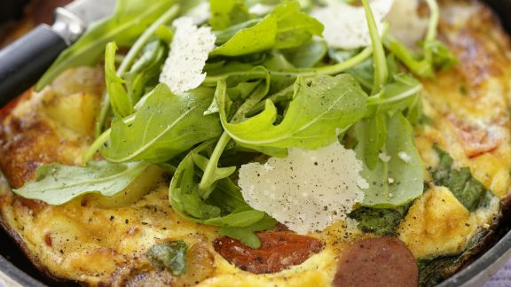 Rezept: Rustikales Omelett mit Rucola