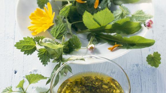 Rezept: Salat aus Wildkräutern mit Kräutervinaigrette