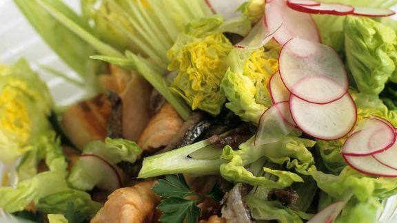 Rezept: Salat mit gegrilltem Wildlachs, Sardellen und Fenchel