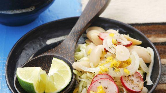 Rezept: Salat mit Limabohnen, Weißkohl und Radieschen
