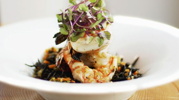 Rezept: Salat mit Shrimps und Kresse