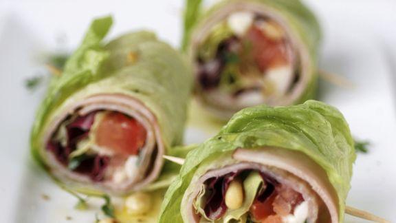 Rezept: Salatröllchen mit Schinken
