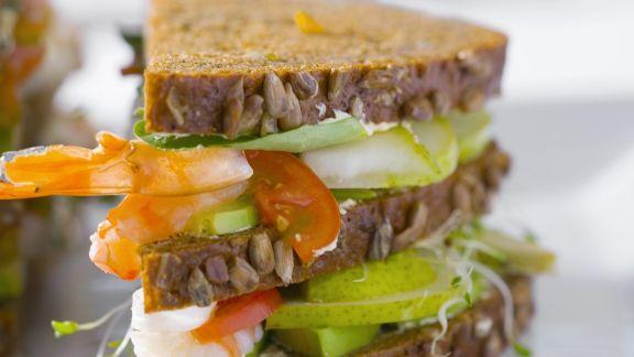 Rezept: Sandwich mit Birnen und Shrimps