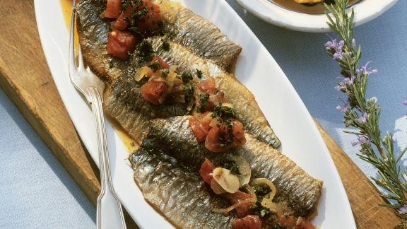 Rezept: Sardinen mit Tomaten-Gemüse