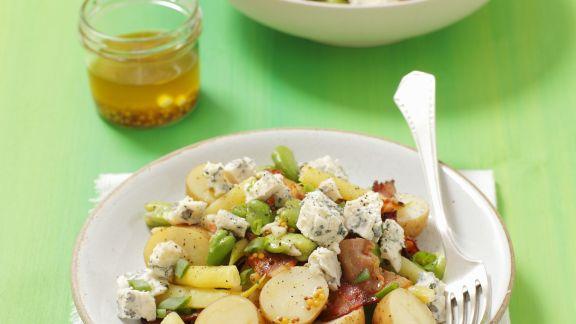 Rezept: Saubohnen-Kartoffelsalat mit Schinken und Blauschimmelkäse