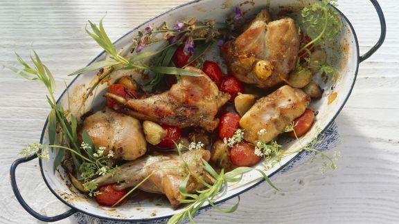Rezept: Schmorkaninchen mit Tomaten und Kräutern