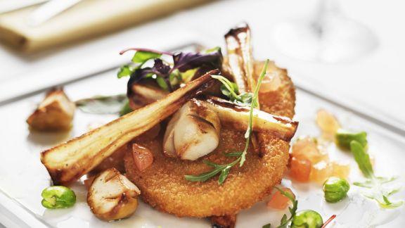 Rezept: Schnitzel aus Quorn mit Pilzen und Pastinake
