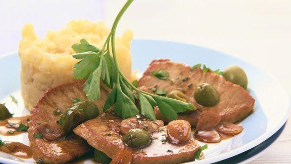 Rezept: Schnitzel mit Olivensauce