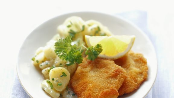 Rezept: Schnitzel Wiener Art mit Kartoffelsalat