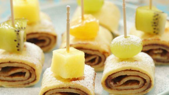 Rezept: Schoko-Pfannkuchen mit Früchten