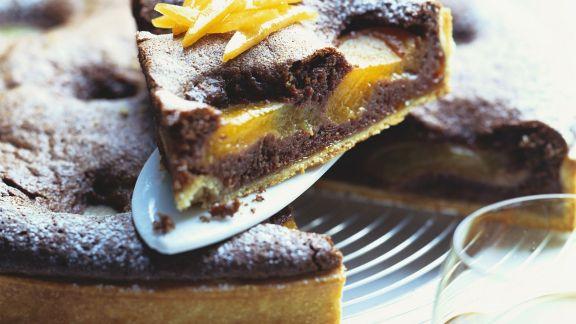 Rezept: Schokokuchen mit Pfirsichen