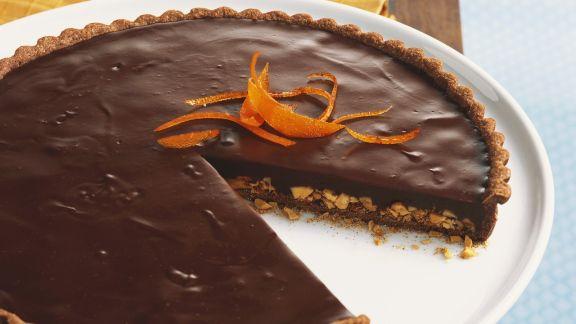 Rezept: Schokoladentarte mit Orange und Mandel