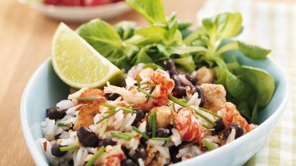 Rezept: Schwarze Bohnen-Reis-Pfanne mit Garnelen
