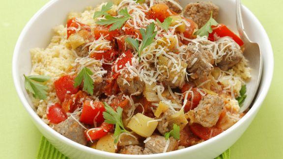 Rezept: Schwein mit gemischtem Gemüse und Couscous