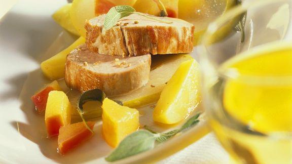 Rezept: Schweinefilet auf Kartoffel und Quitten