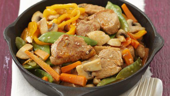 Rezept: Schweinefilet-Pfanne mit Gemüse