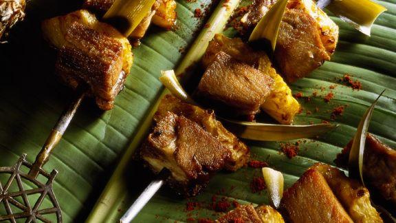 Rezept: Schweinefleisch-Ananansspieße